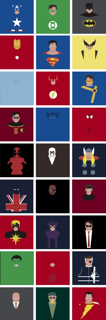boreddesigner:  Well. I'm finished with the superheroes. Next up: super villains and superheroines. Redbubble And now… Let's name them all (yaaaaay) Captain America, Green Lantern, Batman Iron Man, Superman, Wolverine Doctor Manhattan, Flash, Cyclops Robin, Beast, Spiderman, Deadpool, Rorschach, Thor, Union Jack, Nick Fury (Samuel Lee Jackson), Gambit Captain Marvel (Marvel), Hawkeye, The Spirit Hulk, Daredevil, Nick Fury Professor Charles Xavier, Green Arrow, Captain Marvel (DC)