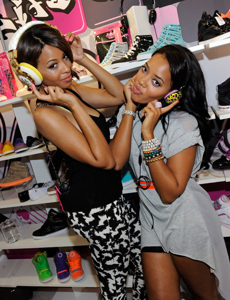 Angela and Vanessa Simmons took a road trip to Vegas yesterday to showcase their 'Pastry' line at the MAGIC clothing industry convention.