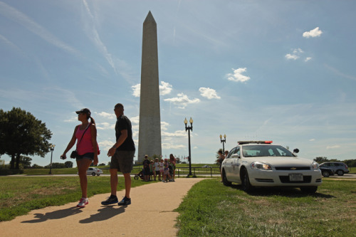 Cracks in the Washington Monument after earthquake: NBC Washington is reporting that, during a secondary inspection, National Park Service investigators found cracks near the top of America's long pointy monument to America's longest, pointiest president. Other than this, of the city's major landmarks, only the National Cathedral suffered damage. (Chip Somodevilla/Getty Images)