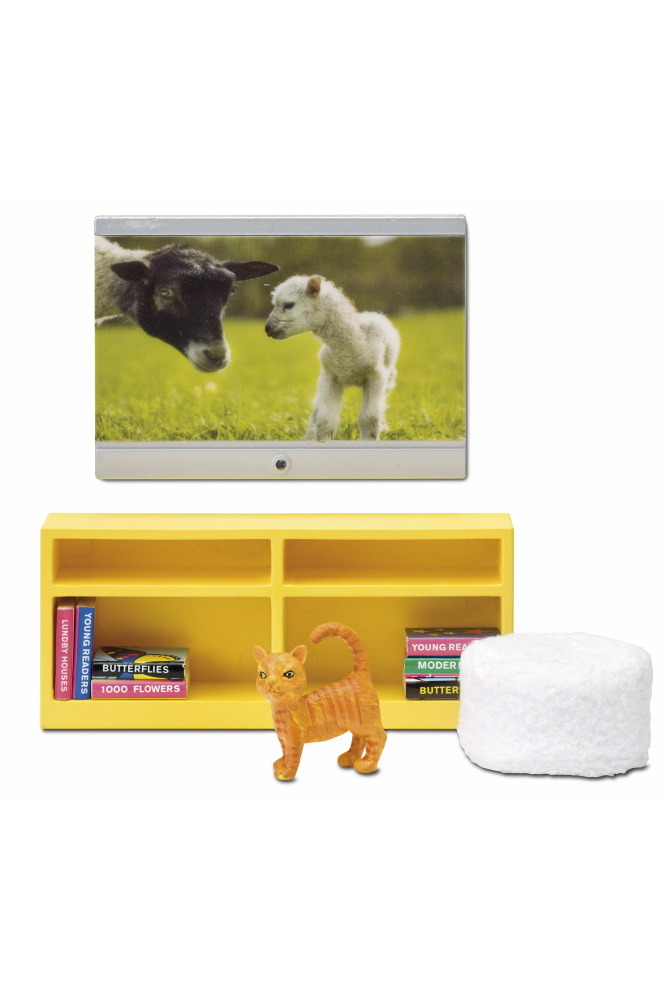 Lundby TV Set Wall mounted TV and bench / Lundby Tv Set Vägghängd Tv samt Bänk Dockskåp / Doll house Sweden Sverige Miniature Miniatyr