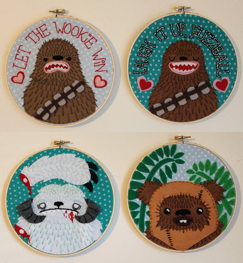 "can i haz the ewok one?! These were made by the talented ""Love & A Sandwich"". Check her out on Etsy. http://www.etsy.com/shop/loveandasandwich"