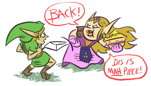 The greatest threat to Hyrule. Never come between a princess and cake. Drawn in conjunction with the Birthday Cake Triforce below.
