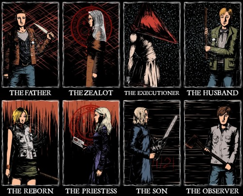 classicsilenthill:  Awesome pic, there's another versions with the other games Protagonists & Antagonists, but that's not for this blog :)  AAAAAAAAAAH This is so fuckin cool