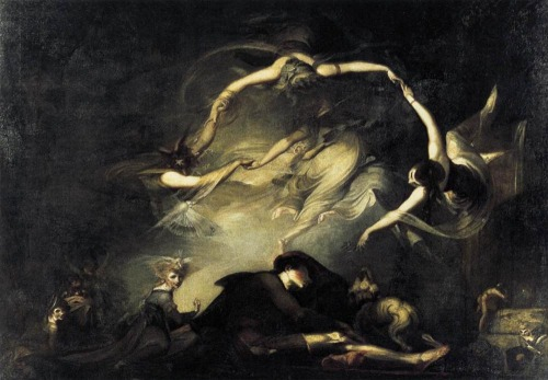 The Shepherd's Dream, 1793, by Henry Fuseli Fuseli referred to  	this text when he first exhibited the painting: Behold a wonder! they but now who seemed In bigness to surpass Earth's giant sons Now less than smallest dwarfs, in narrow room Throng numberless, like that Pygmean race Beyond the Indian mount, or fairy elves, Whose midnight revels, by a forest side Or fountain some belated peasant sees, Or dreams he sees, while overhead the moon Sits arbitress, and nearer to the earth Wheels her pale course: they on their mirth and dance Intent, with jocund music charm his ear; At once with joy and fear his heart rebounds. John Milton, Paradise Lost (1667), Book II, ll.777-89