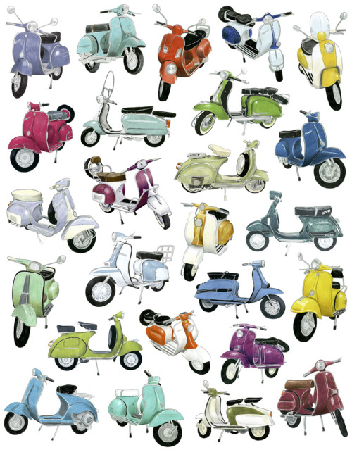 25 Scooter Drawings by Christine Berrie