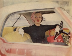 theniftyfifties:  Model in a pink hardtop, 1950s.   shoot with Jamie
