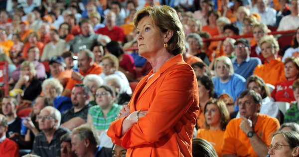 "Pat Summitt, the longtime women's basketball coach at Tennessee who has  won more games than any other major college coach, said she forgot  things at crucial points in games at times last season and struggled to  keep track of when meetings were scheduled. She grew so confused that on  a few days she simply stayed home from work. It was not until after the season ended that she sought a medical diagnosis and learned she has symptoms of early onset Alzheimer's disease.   Ms. Summitt, 59, revealed the diagnosis on Tuesday, and said she planned  to continue to coach. She said her doctor at the Mayo Clinic in  Rochester, Minn., encouraged her to continue as long as she felt up to  it.   ""I plan to continue to be your coach,"" Ms. Summitt said in a videotaped statement posted on the university's Web site.  ""Obviously, I realize I may have some limitations with this condition  since there will be some good days and some bad days.""  The New York Times, ""Tennesee's Pat Summitt Reveals Dementia Diagnosis"" (Photo: Joe Imel / AP via the Times)"