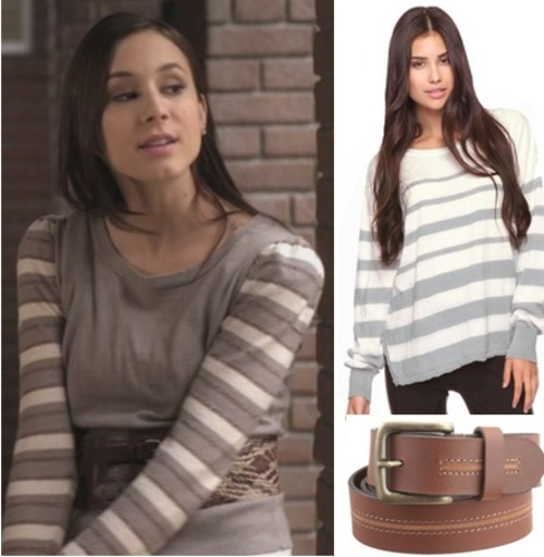 Spencer's striped jumper with the added belt was cute. Now you can get a similar look for around $35! Under $20 Top:  Forever 21 Striped Drop Shoulder Sweater - $17.80 Belt:  Lee Designer Brown Belt - $17.99 Real Thing Can be found over at  Fashion of Pretty Little Liars under the Spencer tag