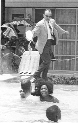 June 1964. Black Children integrate the swimming pool of the Monson Motel. To force them out, the owner pours acid into the water. And Ron Paul still thinks the Civil Rights Act was wrong. Misguided? You betcha.