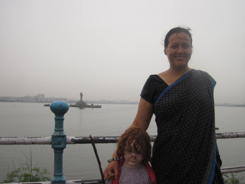 V & I at Hussain Sagar, soaking wet in that special India Monsoon way.