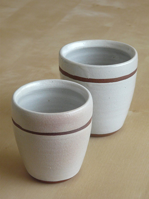 "jaywiesepotterystudio:  White linen meoto yunomi (""married couple"" teacups) with unglazed band.  Small cup: approx. 3 3/8"" dia. x 3 3/8"" tall;  Large cup: approx. 3 1/2""  dia x 3 3/4"" tall;  Stoneware, 2011.  Available for purchase in my store."