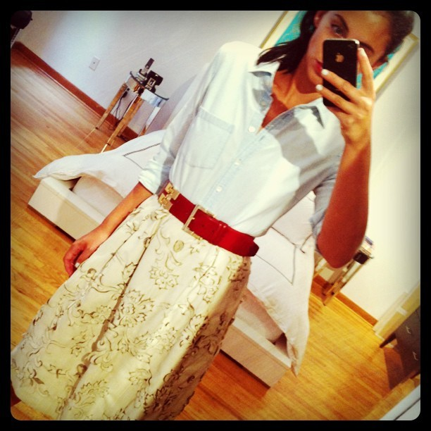 perforated leather skirt, red belt (Taken with instagram)