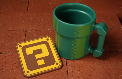 freshmensalley:  Look At This! The Mario Bros Pipe Mug  Awesome! Love the matching coaster. I drew a Mario Bros Pipe Mug once but it had a coin as the handle.