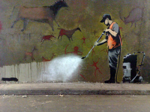 "johnwilkestooth:   ""British street artist Banksy created this metaphoric statement in 2008 about the removal of public graffiti. The act was self-prophetic. The original art lasted only a few months. One must wonder what traversed the minds of its destroyers as they painted over the top.""  Probably something like ""Oh, THIS asshole again?"""