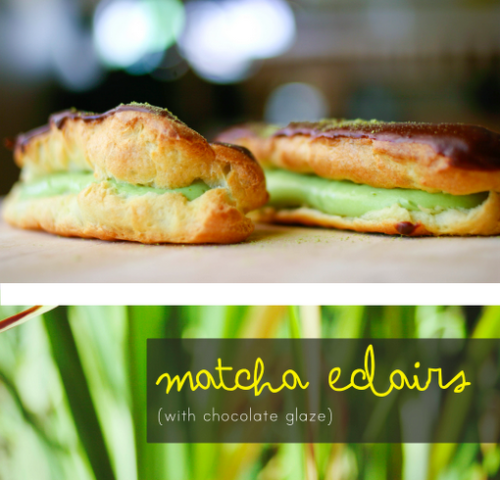 bakeddd:  matcha custard eclairs click here for recipe