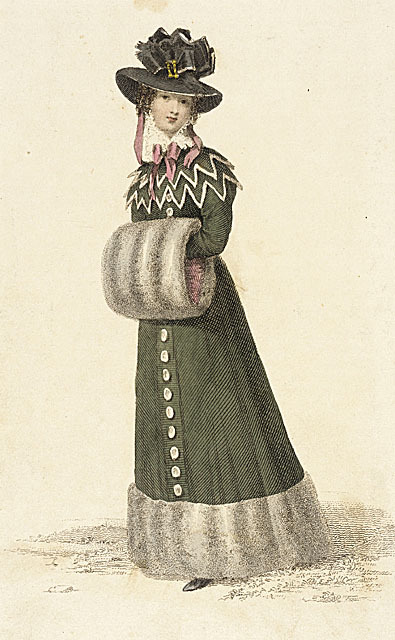 Ackermann's Repository, Promenade Dress, January 1826.  Things I love about this outfit: 1. GREEN! 2. Green SATIN, according to the description. 3. Chinchilla fur (Take that, Lil' Kim) 4. Amazing edged, Van Dyke'd collar 5. Puffy black velvet bonnet.