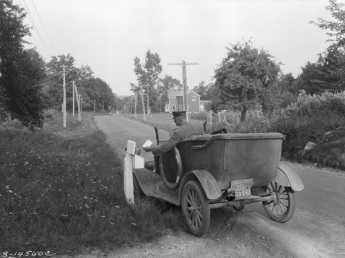 "todaysdocument:  ""Postman delivering mail, rural mail route, York county, Maine"" By George W. Ackerman, August 26, 1930 (33-SC-14560c) During a nearly 40-year career with the Department of Agriculture, George W. Ackerman (1884-1962) estimated that he took over 50,000 photographs. Ackerman began working as a photographer for the Bureau of Plant Industry in 1910 at a salary of $900 a year.      I was just there."