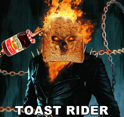 having breakfast with Mr.Cage breadpeople:  Toast Rider (suggested by cthulhuholmes)