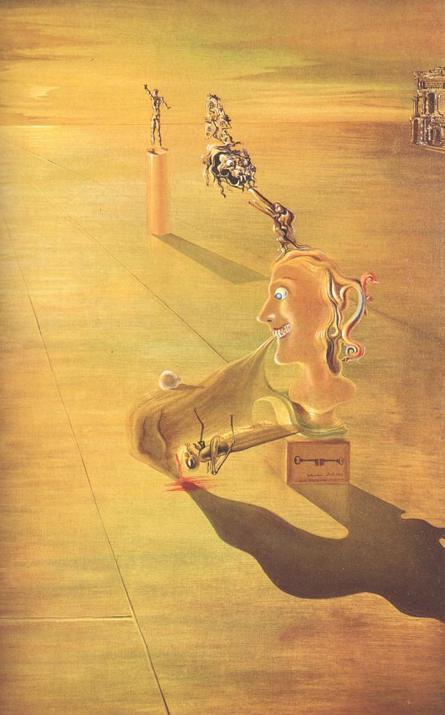 surrealism:  Sunday Dalí: Phantasmagoria, 1930. Oil on panel, 69 x 44 cm. Property of Jack Nicholson, Beverly Hills, CA. The keys on the stand that support the image of Dalí's mother-as-recepticle suggest that there are secrets in this painting to be unlocked. That standard interpretation, as with most of Dalí's works from this time, is a Freudian analysis. The lion represents Dalí's father, who gazes with sexual desire at Dalí's mother. Dalí's face is shown as The Great Masturbator to which a grasshopper clings. The grasshopper mounts Dalí's mouth in the sexual act signifying Dalí's mute terror and sexual anxieties. Dalí's pain is shown by his bleeding nose. The bird is in reference to Da Vinci's memory of a vulture that visited the renaissance master's cradle and opened his mouth with its tail feathers. Da Vinci might have hidden the anecdote in his painting Virgin and Child with St. Anne, in which Freud found a hidden bird.1 Dawn Ades and Michael R. Taylor, Dalí, (Venice: Rizzoli, 2004), 128. ↩  It's a little bit funny that we're called Surreal Football and also hate Barcelona, when the most famous surrealist of all time was Catalan, and childhood friends with early day Barcelona star players at that. But then, we don't have to explain ourselves to anyone. Especially you, fuck you.