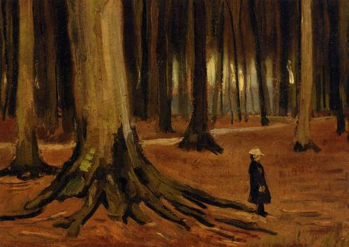 poemy: Girl in the Woods, Vincent van Gogh, ca. 1882, oil on canvas.  This painting gives me the creeps for some reason