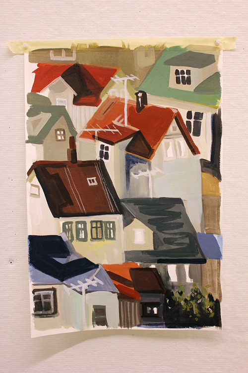 in progress, painting of rooftops in reykjavik.