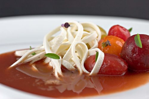 Tomato Soup with Mozzarella Noodles