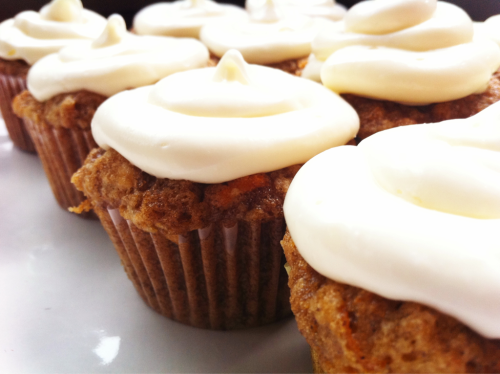 Carrot cupcakes with maple cream cheese frosting.