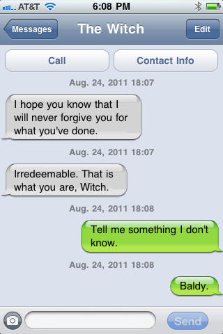 "whiteraven93:  hmtexts:  Harvest God to Witch Princess Requested by fireflyflower  Wait…I thought that the green bubbles were always ""me"" (or, in this case, ""Harvest God"") and the white bubbles were always the name at the top (""The Witch""). Did someone forget who was who? :/  Oops! That was my mistake. Only excuse I have for that is making it on my phone OTL -N"