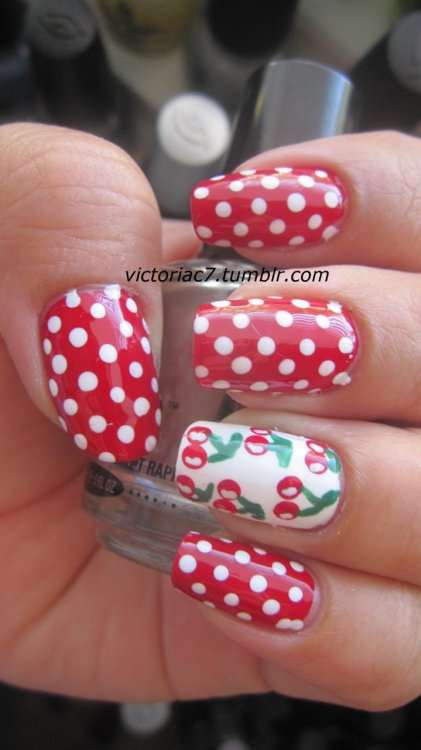 victoriac7:  Polka dots and cherries. Inspired by Daaaanggirl Colors used: Sally Hansen Insta-Dri - Rapid Red Sally Hansen Xtreme Wear - White On OPI - Jade Is The New Black