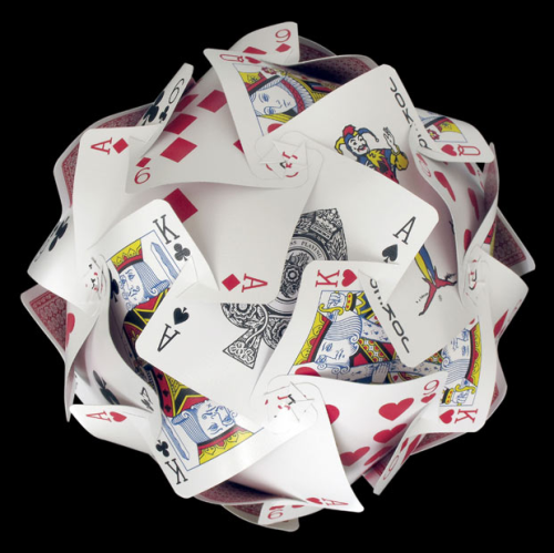 archiemcphee:  A sphere made from 30 playing cards slotted together by Nick Sayers [via Telegraph.co.uk]