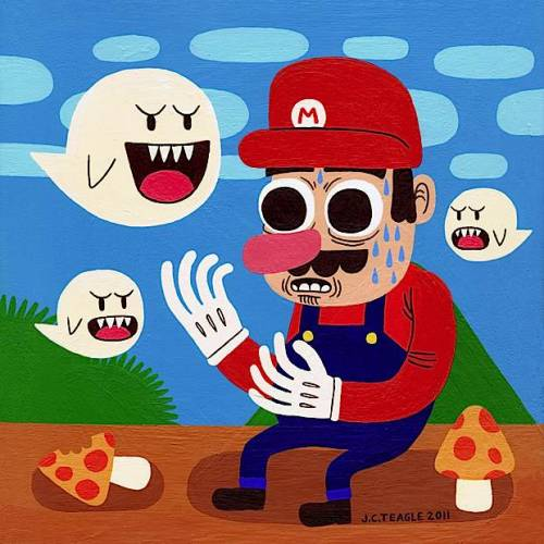 Super Mario Painting by Jack Tea­gle