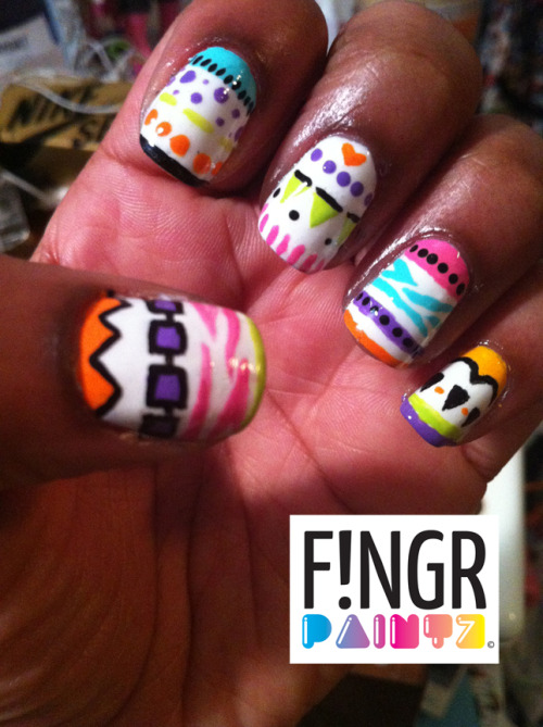 fingrpaintz:  Colorful Funky Tribal nail art. Enjoy :) xoxo - Julia