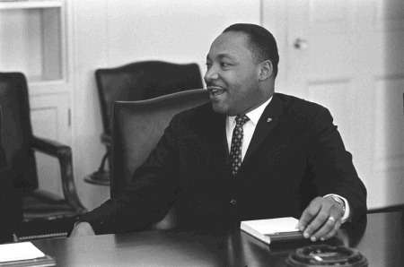 ourpresidents:  Dr. Martin Luther King, Jr. in the White House  Martin Luther King speaks with President Lyndon B. Johnson during a civil rights meeting in the Cabinet Room.  January 18, 1964