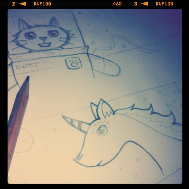 Drawing some critters for my #bookmarks! #unicorn #space #cat #art (Taken with instagram)