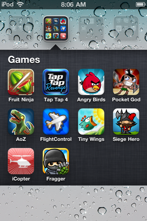 Game list on my new iPod touch