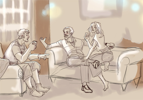 [image: fanart by Glockgal.  Roy Harper, Oliver Queen and Dinah Lance lounging in a hip living room and having drinks. Everyone is having a good time.]