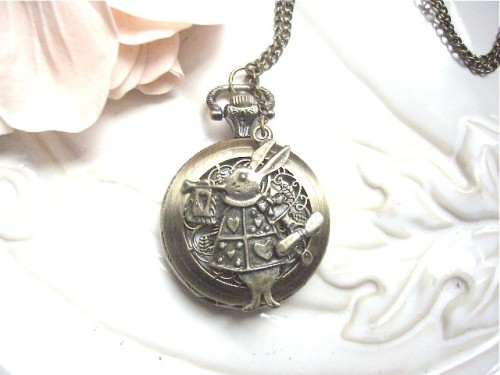 Wonderland pocket watch charm necklace