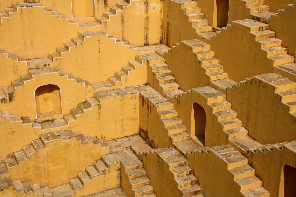 The yellow stairs of Rajasthan, India.
