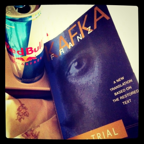 Reading Kafka's 'The Trial' because I need it; I'm not stopping until I collapse after the caffeine turns against me.