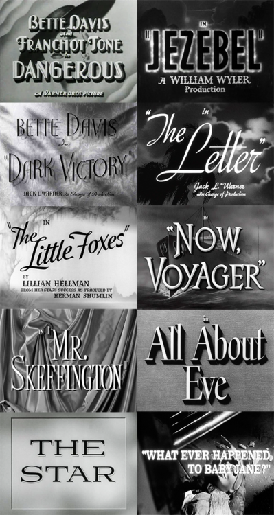 all-about-bette:  Bette Davis Oscar Nominations 1935: Dangerous (won)1938: Jezebel (won)1939: Dark Victory 1940: The Letter 1941: The Little Foxes 1942: Now, Voyager 1944: Mr. Skeffington 1950: All About Eve 1952: The Star 1962: What Ever Happened to Baby Jane? In 1962 Bette Davis became the first person to secure ten Academy Award  nominations for acting.