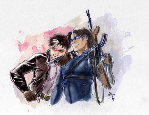 fumettidccomics:  mgnemesi:  My ultimate Team-Up. ♥  Jason Todd & Bucky Barnes  ,