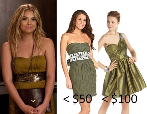 Hanna's olive dress looks amazing on her, drunk or sober! Now you can achieve the olive look too with one of these similar dresses. Under $50 Dress:  Sequin Hearts Strapless Dress - $21.24  Under $100 Dress:  Hailey Logan Strapless One Shoulder Dress - $89.00