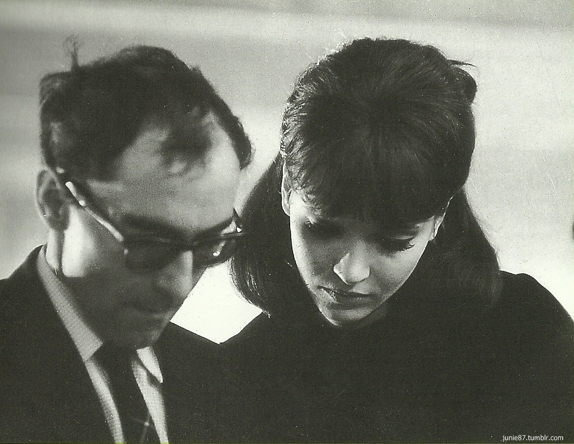 annakarinaorg:  On the set of Alphaville, 1965.
