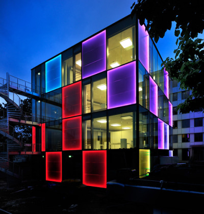 "enochliew:  Energy Cube by Lindner Group The solar façade consists of photovoltaic elements with an extraordinary generating potential. The PV modules deliver a 1,246 Kilowatt peak (kWp) performance. ""This is quite unique worldwide, and only six months ago would have been inconceivable."""