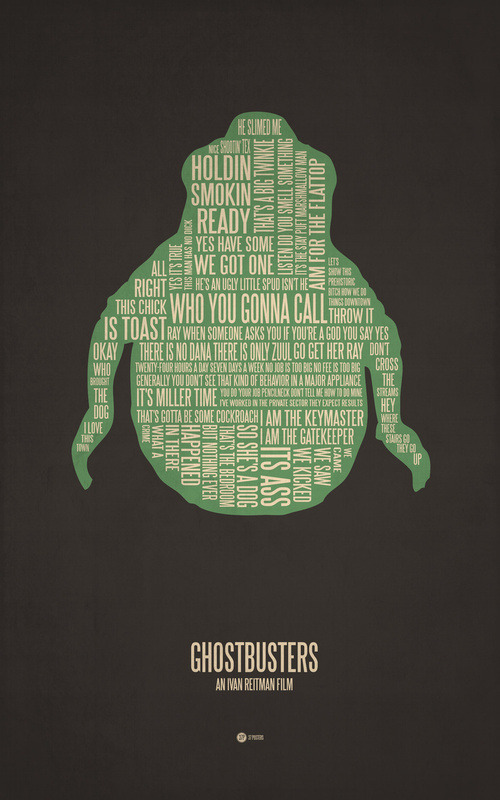 brain-food:  minimalistic film posters filled with movie quotes and a simple silhouette image by Jerod Gibson.