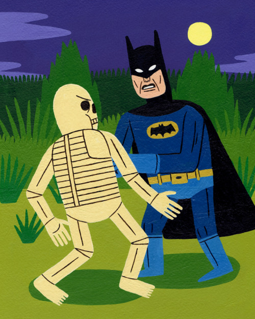 Batman Fights a Skeleton Acrylic on paper.