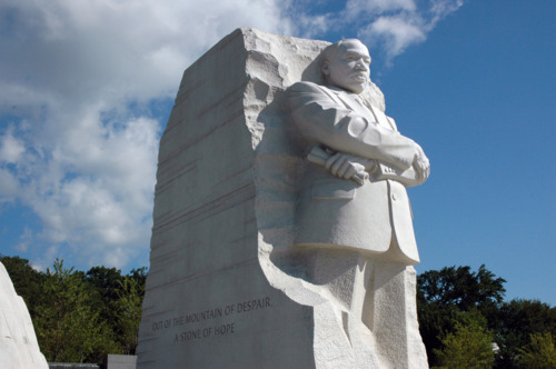 Martin Luther King Jr. is carved out of stone as part of the new memorial.