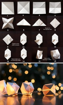 DIY: Paper cube string lights.