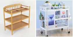 storagegeek:  DIY Rolling Bar Cart  DIY Ideas I found the photo @ unplugged because they had a great idea of doing the same with a rolling mini office. I love the original idea as well but it works on many levels. A rolling craft centre for you and/or your children. A cooking centre complete books and and rarely used tools and appliances. Portable shelving is the bees knees no matter how you utilize it.