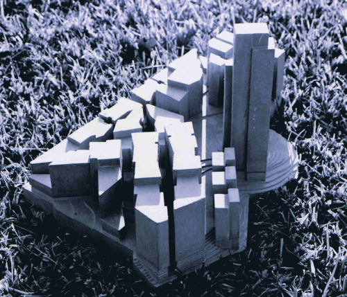 kmkirbydesign:  Concept model, downtown project.  Concrete.